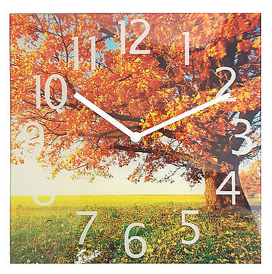 866 Wanduhr Mebus ! Landschaft Motiv Herbst ! 30 x 30 cm