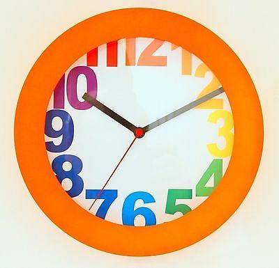 703 Mebus Wanduhr ! orange mit bunten Zahlen ! modernes design ! 25 cm