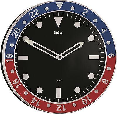 553 Wanduhr ! Mebus ! metall ! schwarz rot -blau ! 34 cm ! super modern !