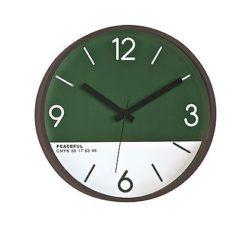 470 Mebus Wanduhr! dunkles Holz ! mit grün & weiß ! super Design , 30 cm