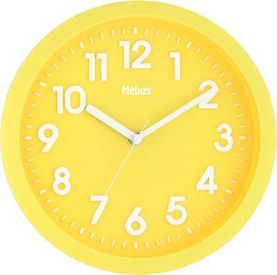 325 Mebus Funk Wanduhr gelb -weiß !!!