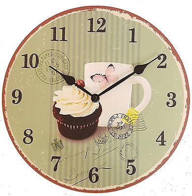 887 Wanduhr Mebus ! Motiv Cup Cake ! 28 cm