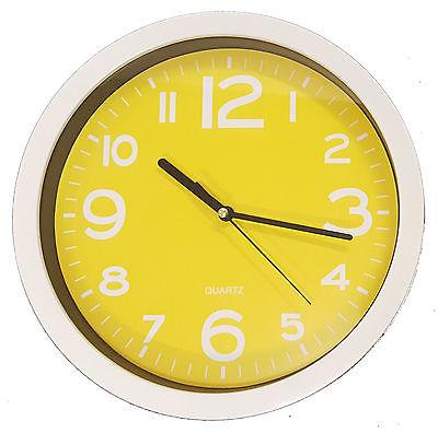 894 Wanduhr Mebus !weiß - gelb ! super modern! 25 cm