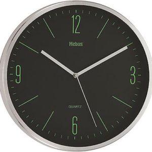 573 Mebus Wanduhr Metall, chrom - schwarz mit grün ! Modern !