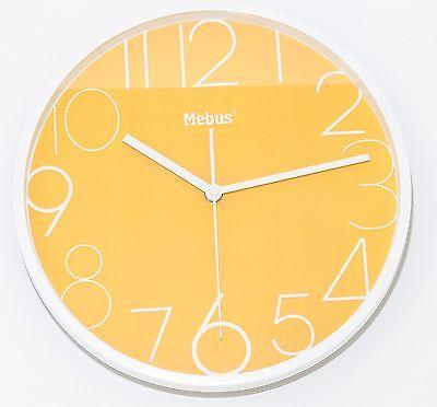 654 Mebus Wanduhr ! Weiß mit gelb ! super modernes design ! 28 cm