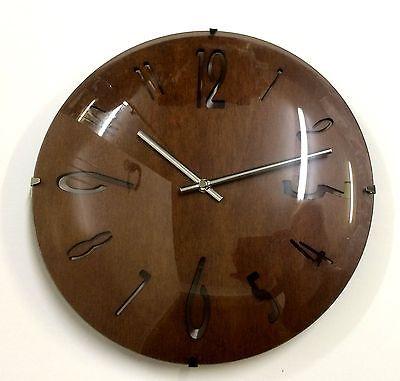 475 Mebus Wanduhr! dunkles Holz ! modernes design ! 29 cm
