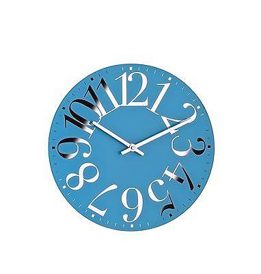 745 Mebus Wanduhr !Glas ! Blau mit Chrom !29,5 cm super modern!