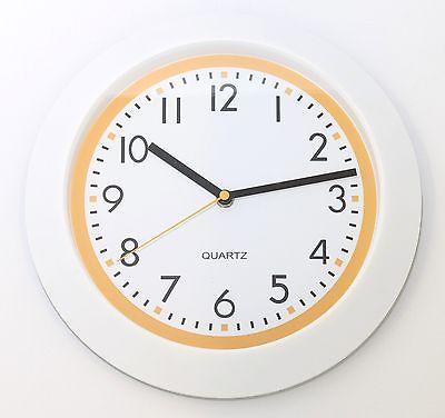 710 Mebus Wanduhr ! weiß - gelb ! modernes design ! 29,5 cm