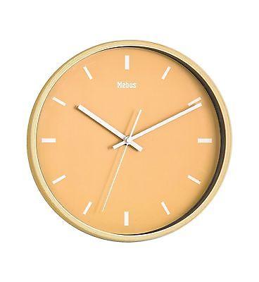 793 Mebus Wanduhr! helle Holzoptik mit gelb ! modernes Design! 29 cm