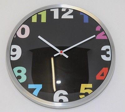 664 Mebus Wanduhr ! chrom - schwarz ! super modernes design ! 32,5 cm