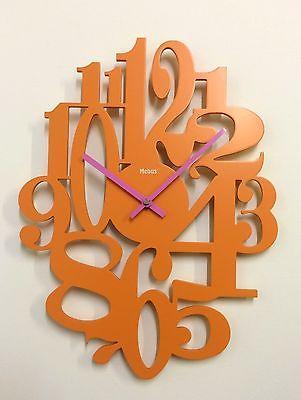 851 Mebus Wanduhr ! orange ! extravagantes design ! 39 x 29 cm
