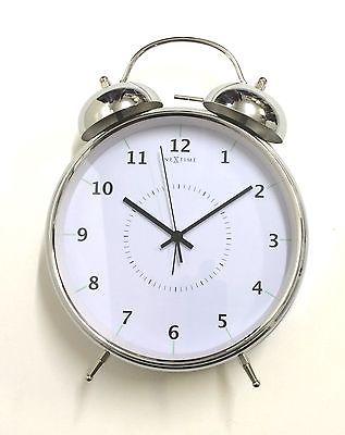 770 Nextime Wanduhr - Tischuhr - Glockenwecker 5113 zi Chrom leises Uhrwerk
