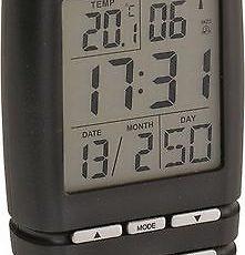 214 digitaler Funkwecker schwarz ! mit Datum und Temperatur ! 2 Weckzeiten !
