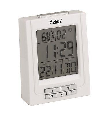 215 digitaler Funkwecker weiß ! mit Datum und Temperatur ! 2 Weckzeiten !