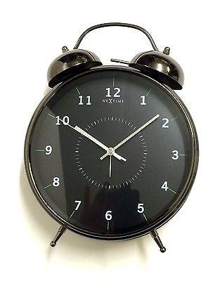 771 Nextime Tischuhr - Glockenwecker 5113 zw Metall ! schwarz ! leises Uhrwerk