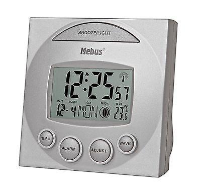 207 digitaler Funkwecker grau ! Datumsanzeige , Mondphase und Temperatur !