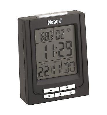 216 digitaler Funkwecker schwarz ! mit Datum und Temperatur ! 2 Weckzeiten !