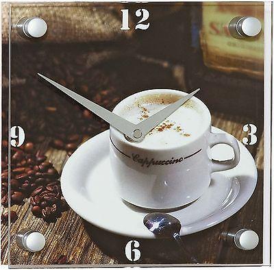 304 Funk Wanduhr! mit Glas! Kaffe Motiv ! Neu !