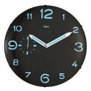 460 Mebus Wanduhr! Holz ! schwarz mit blau , super modernes Design , 35 cm