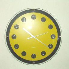 174 Wanduhr ! schwarz - gelb ! super modern ! 31 cm