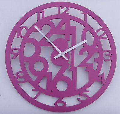 """276 Wanduhr """" Holz """" pink super modern ! super !"""