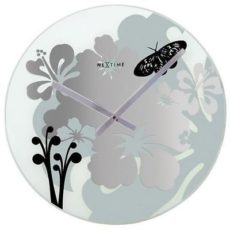 703 NeXtime 8087 Wall Clock 43 cm glass, Hibiscus