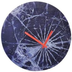 741 Nextime Wanduhr 8147 , Glas dunkel blau mit interessantem Design , 43 cm
