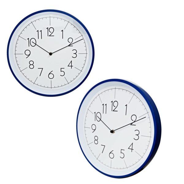 1005 Mebus Wanduhr! Blau ! Metall ! Durchmesser: 30,5 cm