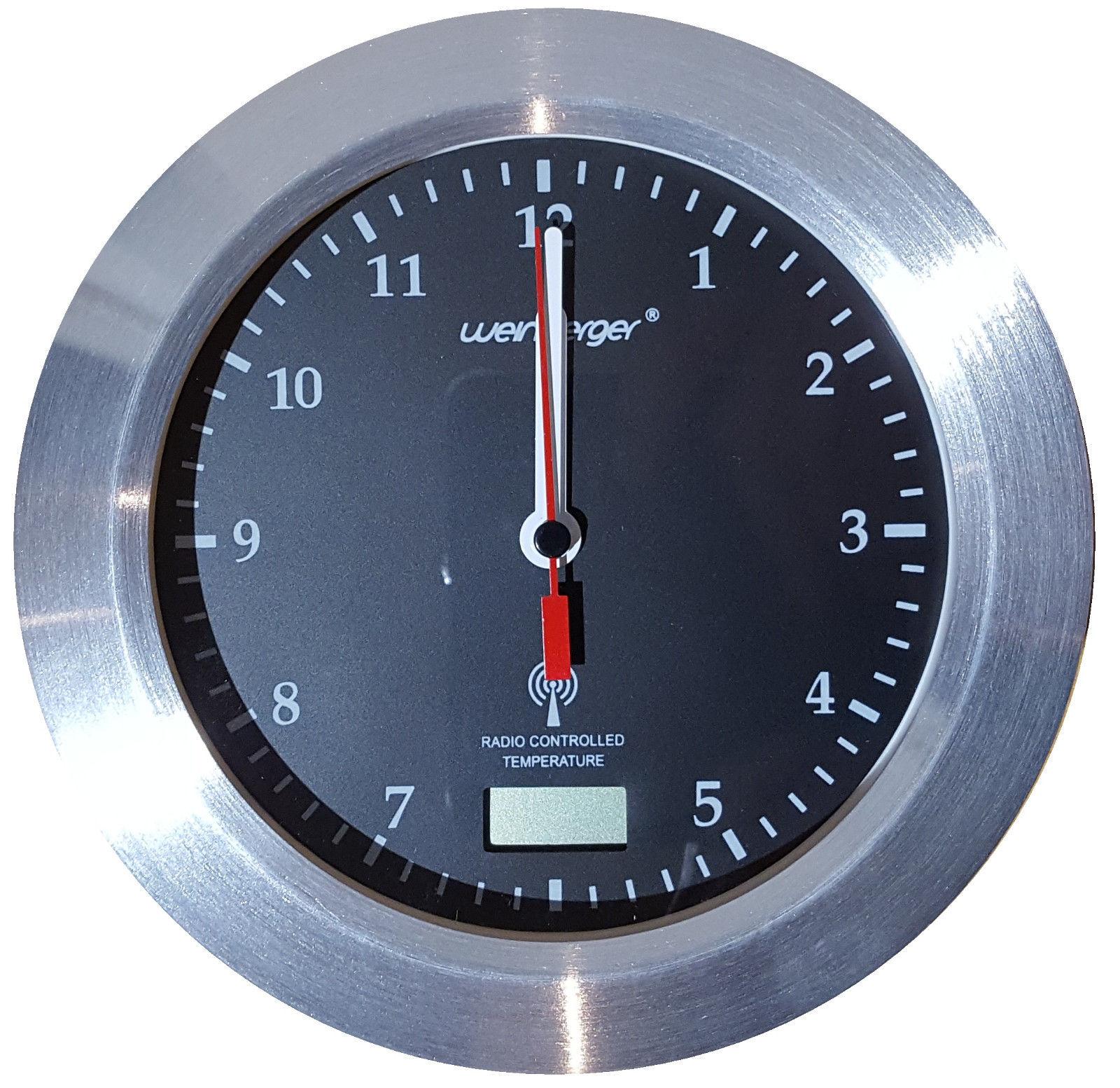 385 Moderner Mebus Funk Wanduhr Badezimmer Uhr 17 Cm Schwarz Ab An Die Wand