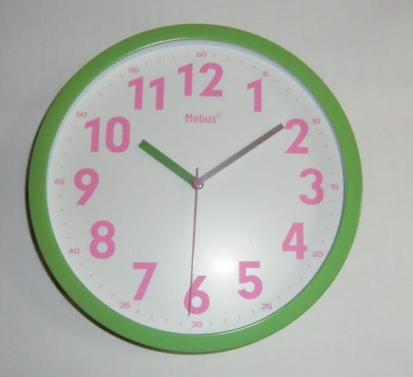 361 Wanduhr ! Mebus ! grün - pink ! modern !Neu!!