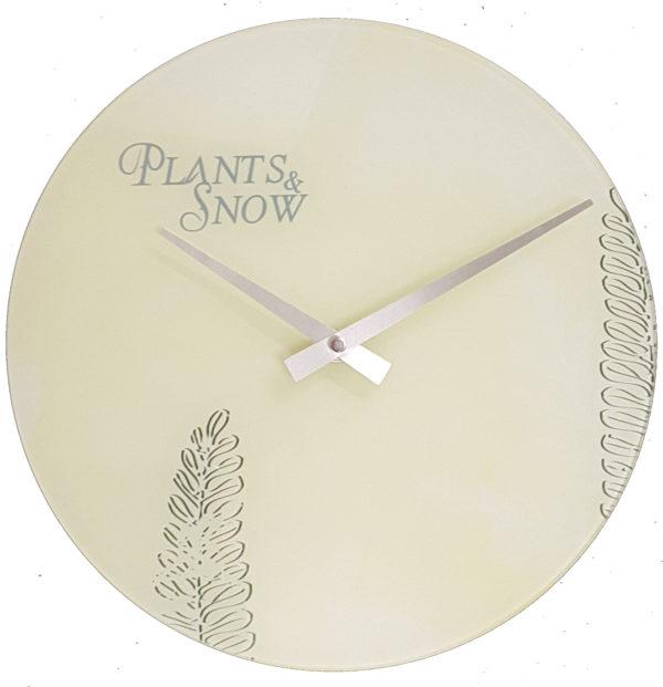 873 Wanduhr Mebus ! Glas ! Motiv Plants & Snow ! 29,5 cm