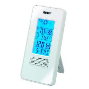 946 Mebus Funkwetterstation Weiß mit blauer Hintergrundbeleuchtung